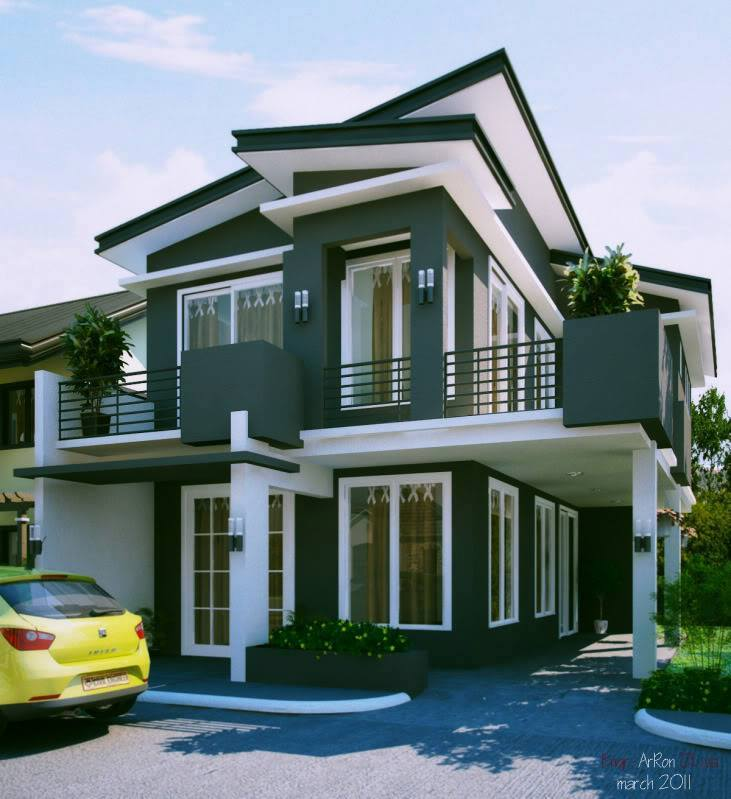 Contemporary Three Storied Residential Building: 28 Sloped Roof Bungalow Font Elevations (Collection-1
