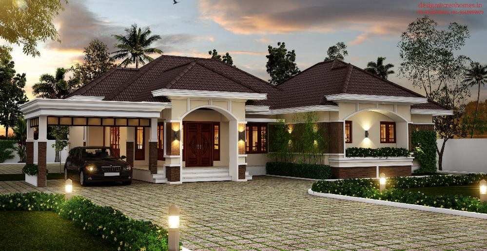 28 sloped roof bungalow font elevations collection 1 Bungalow house with attic design