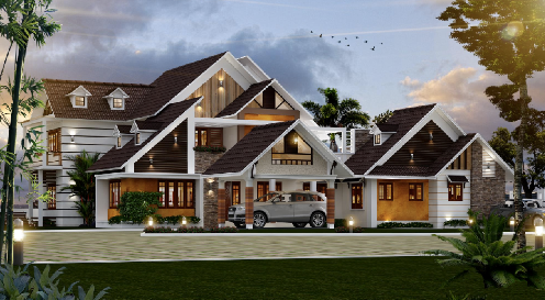 Slopped roof sloped roofs on this modern house match the for Sloped roof house plans in india