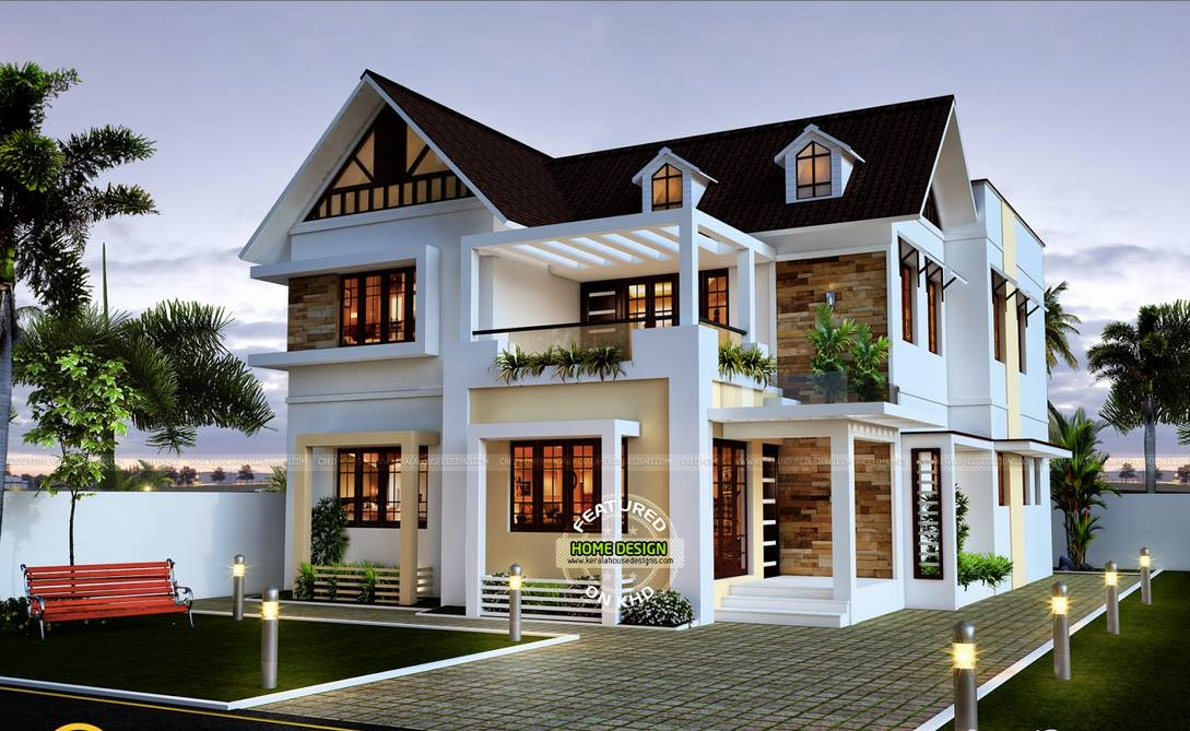 Elegant Sloped Roof Bunglow Elevation Designs 2