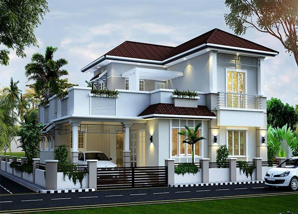 28 sloped roof bungalow font elevations collection 1 for Sloped roof house plans in india
