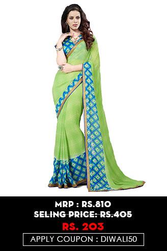 Green Leheriya Saree
