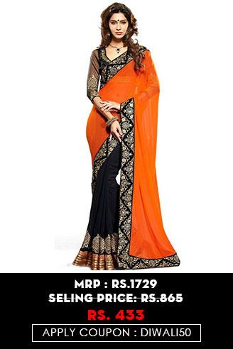 Orange and Black Partywear Saree