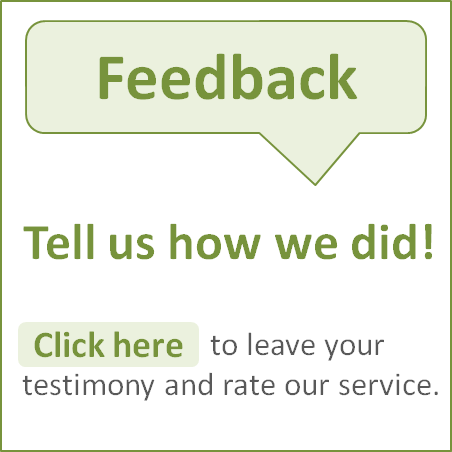 Tell us how we did by sharing your testimony