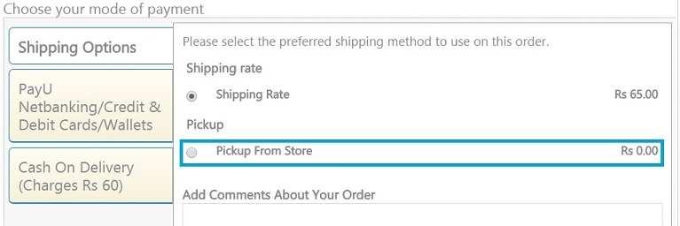 Choose Self Pickup option at checkout