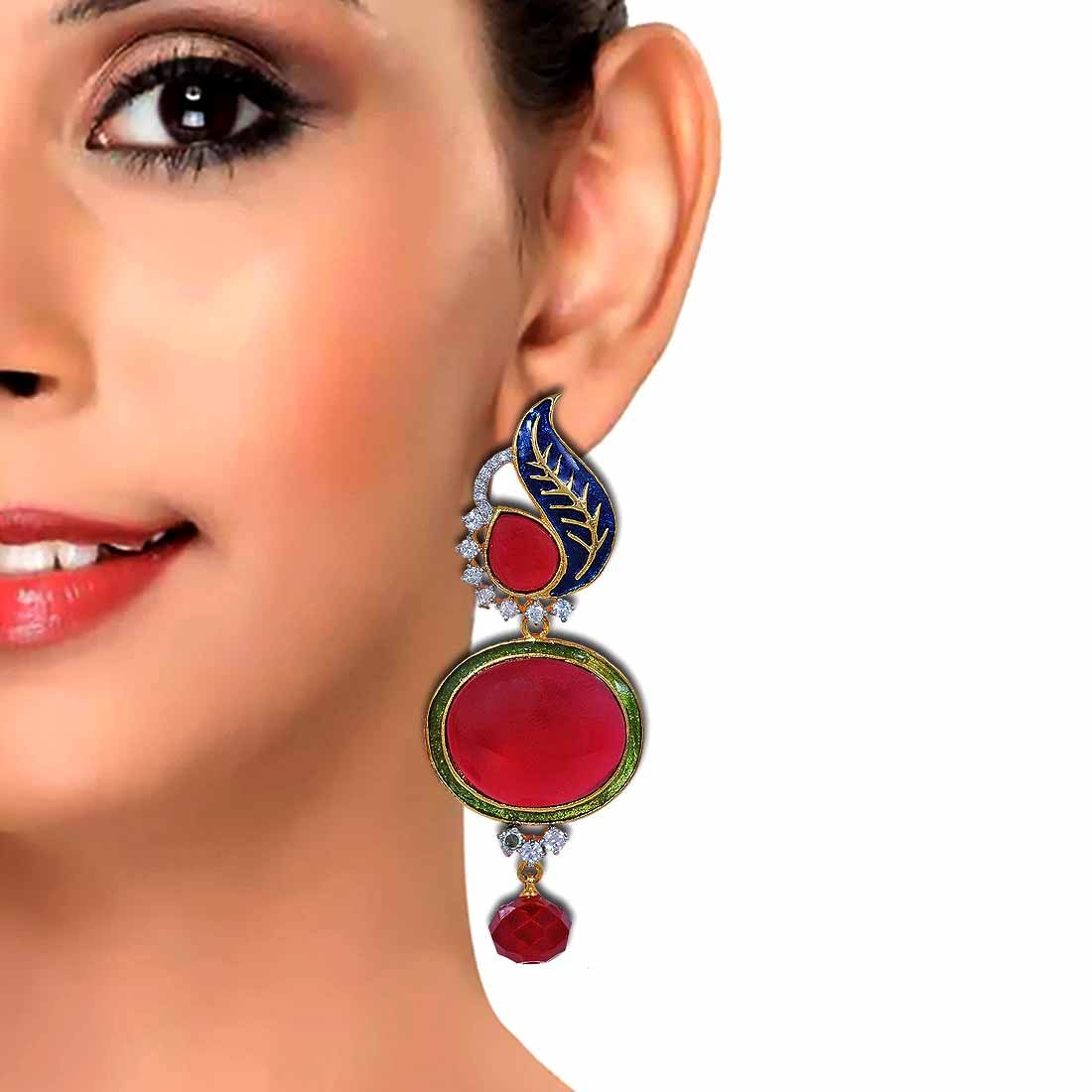 Kundan Earrings in Red