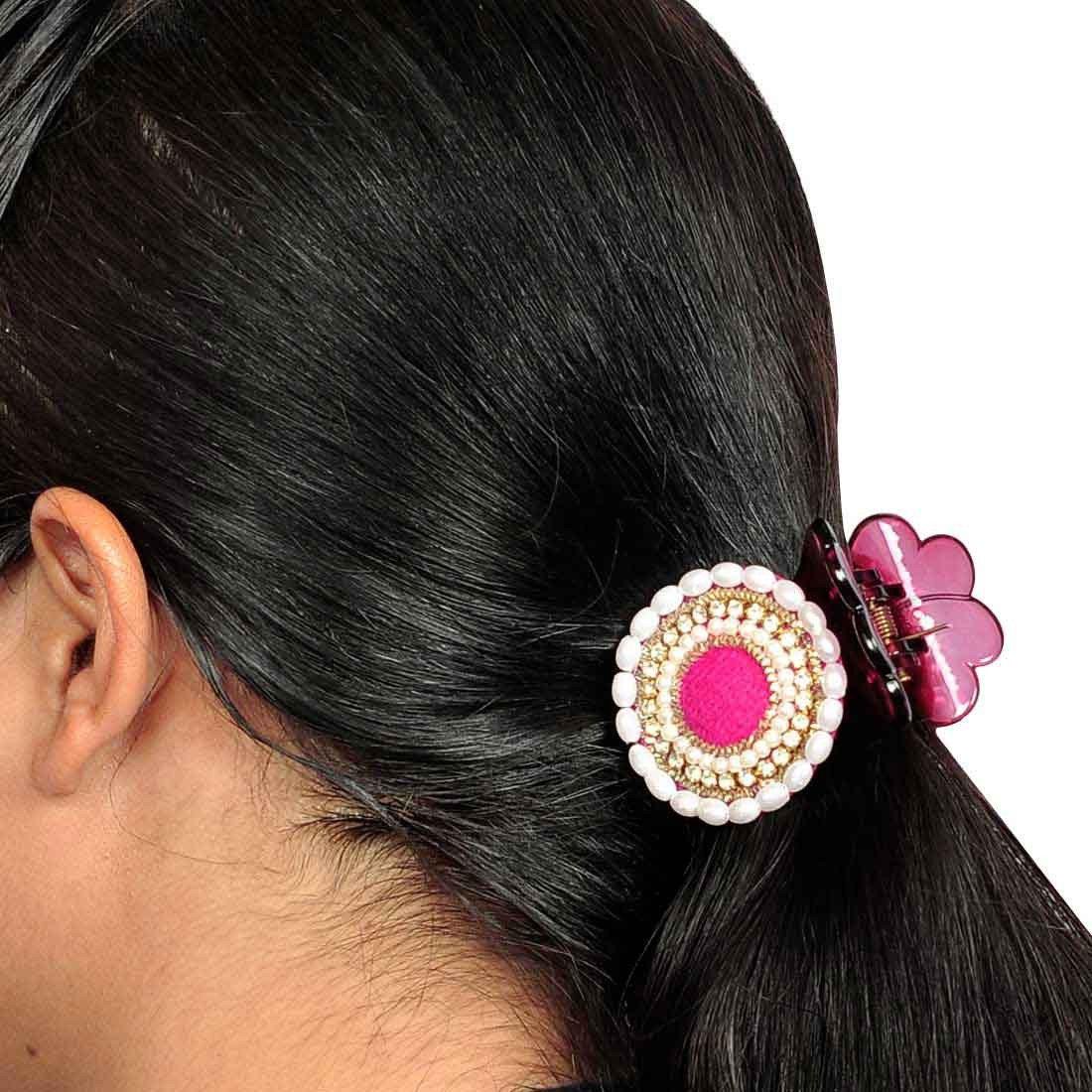 Lovely Designer Hair Clutcher in Pink White for College by Maayra