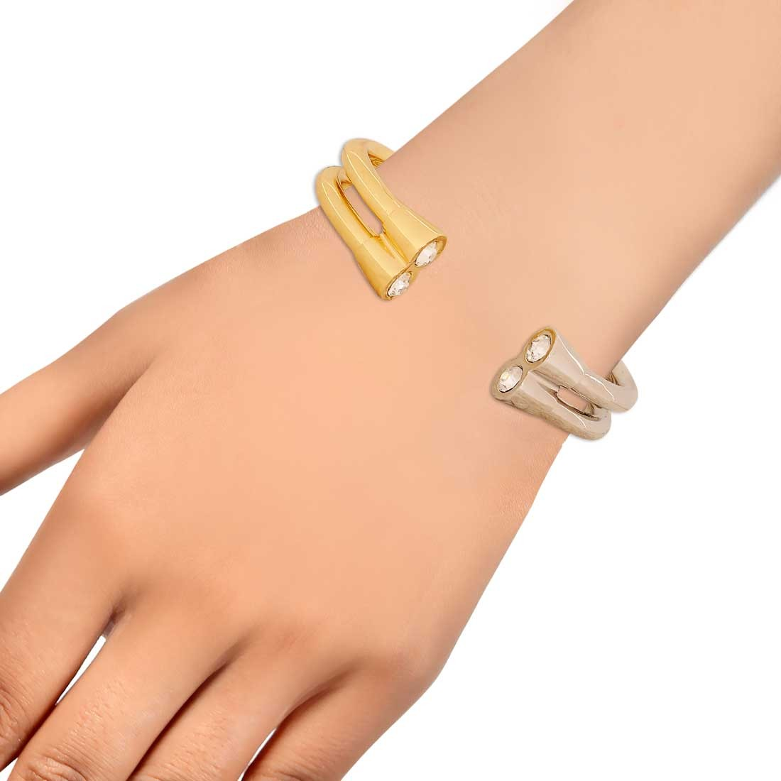 Pretty Gold Silver Designer Adjustable Casualwear Size Cuff Alloy Maayra MY6764
