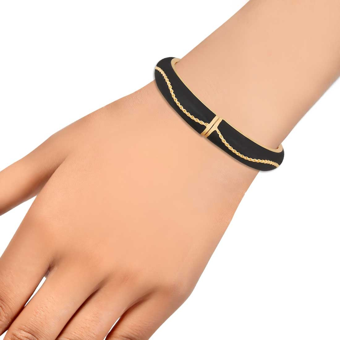 Elegant Black Designer Adjustable Party Size Bangle Alloy Maayra MY6766