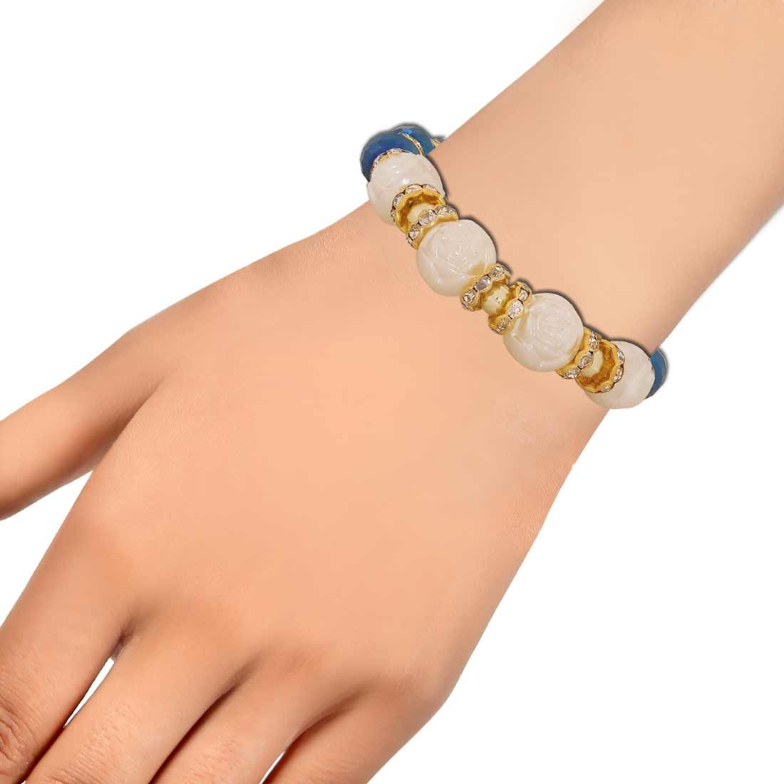 Classic Blue White Latest Adjustable Cocktail Size Bracelet Alloy Maayra MY6773