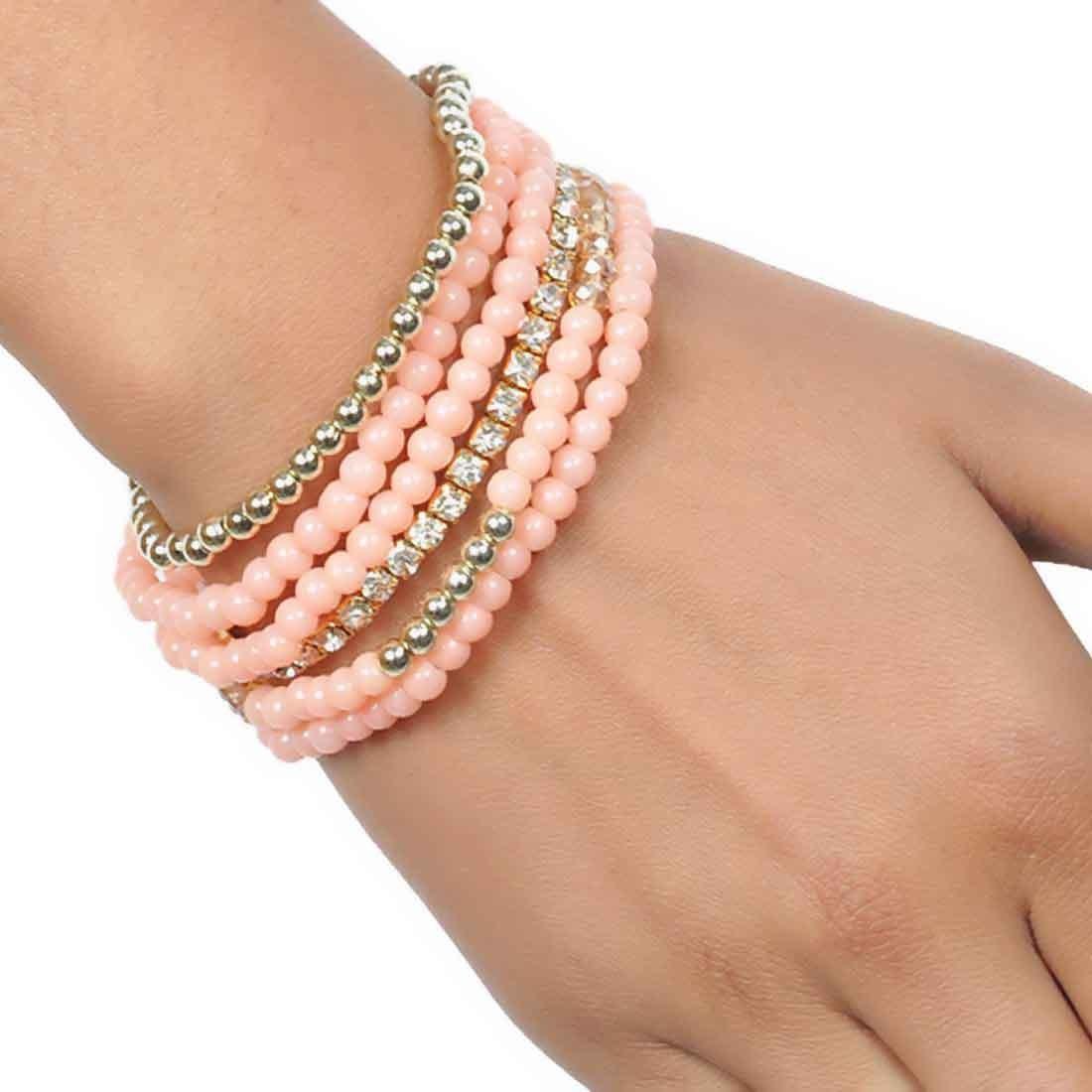 Exclusive Orange Beads Work Adjustable Dailywear Bracelet Alloy Maayra MY6777