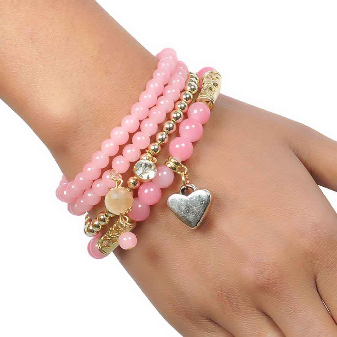Lively Pink Gold Beads Work Adjustable College Bracelet Alloy Maayra MY6782