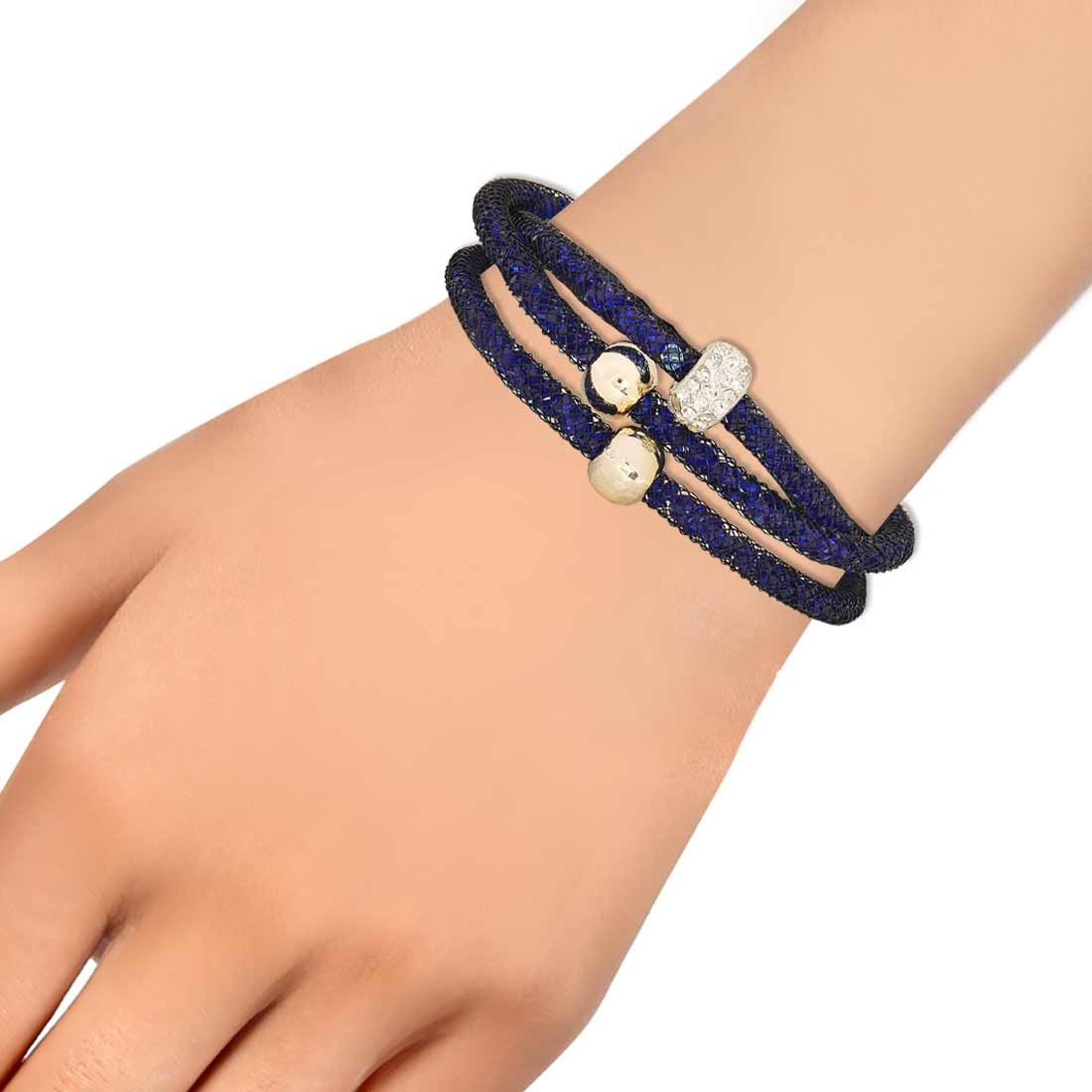 Artistic Blue Jaali Work Adjustable Get-together Bracelet Alloy Maayra MY6785