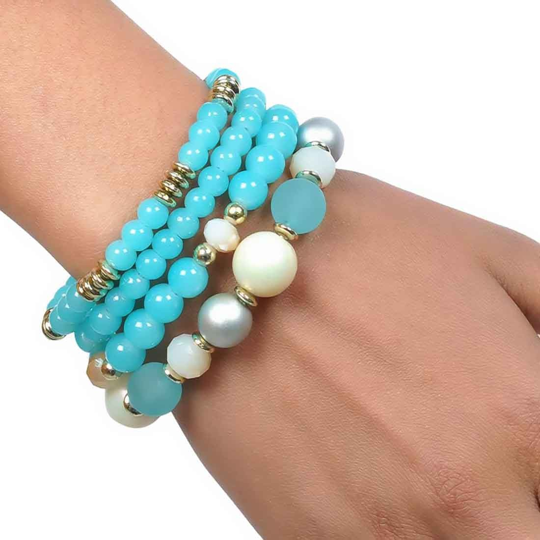 Exquisite Multicolor Beads Work Adjustable Party Bracelet Alloy Maayra MY6789