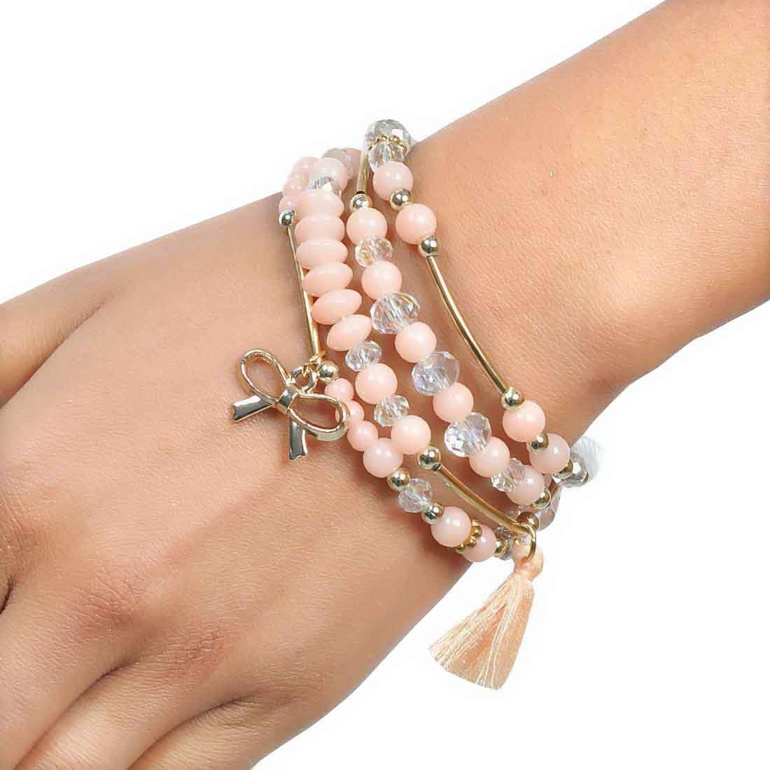 Bright Off-White Gold Beads Work Adjustable Reunion Bracelet Alloy Maayra MY6792