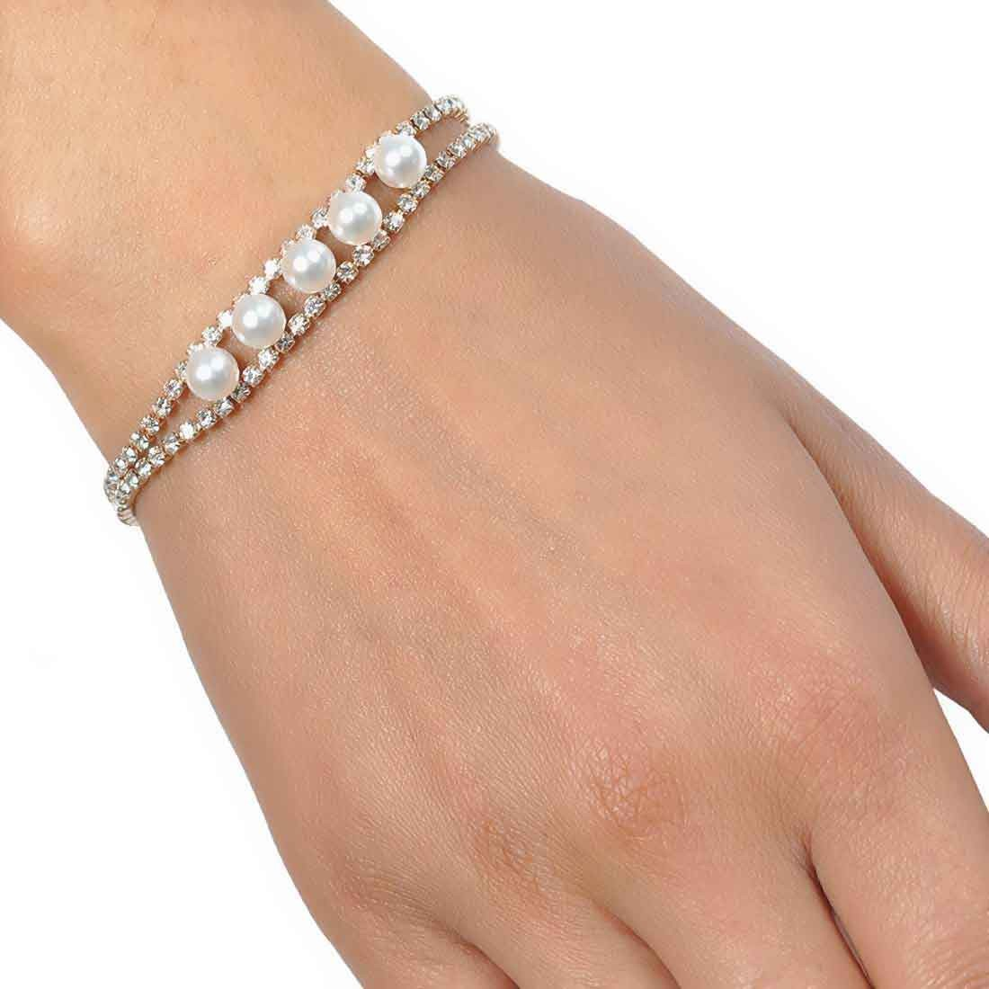 Hot White Gold Latest Adjustable Get-together Size Bracelet Alloy Maayra MY6797