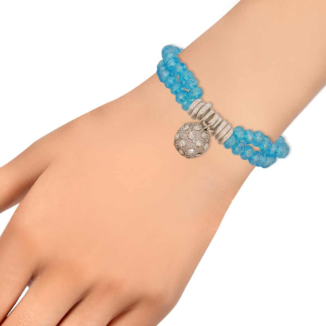 Charming Blue Silver Designer Adjustable College Bracelet Alloy Maayra MY6801