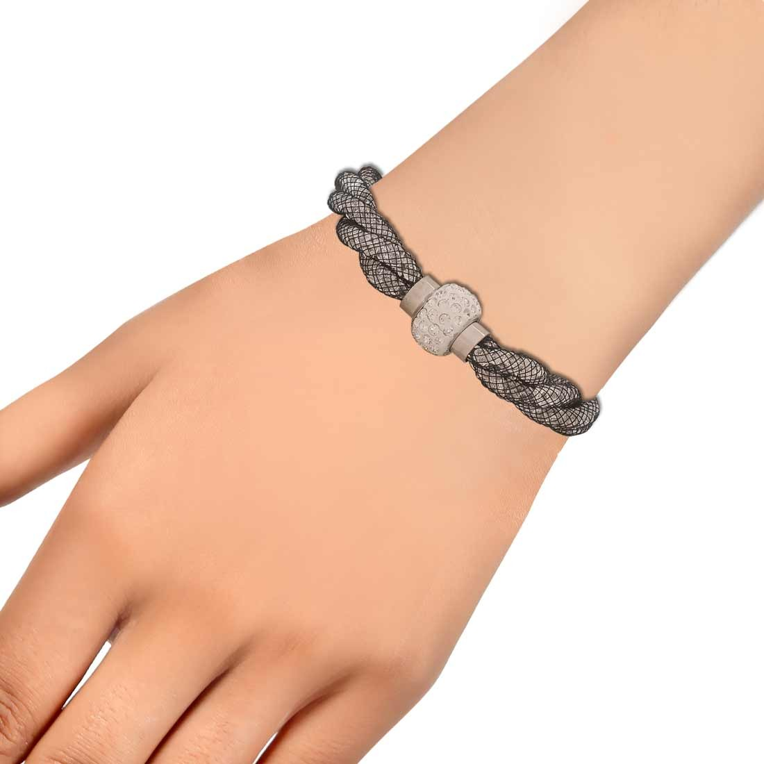 Chic Black Silver Jaali Work Adjustable Party Size Bracelet Alloy Maayra MY6802