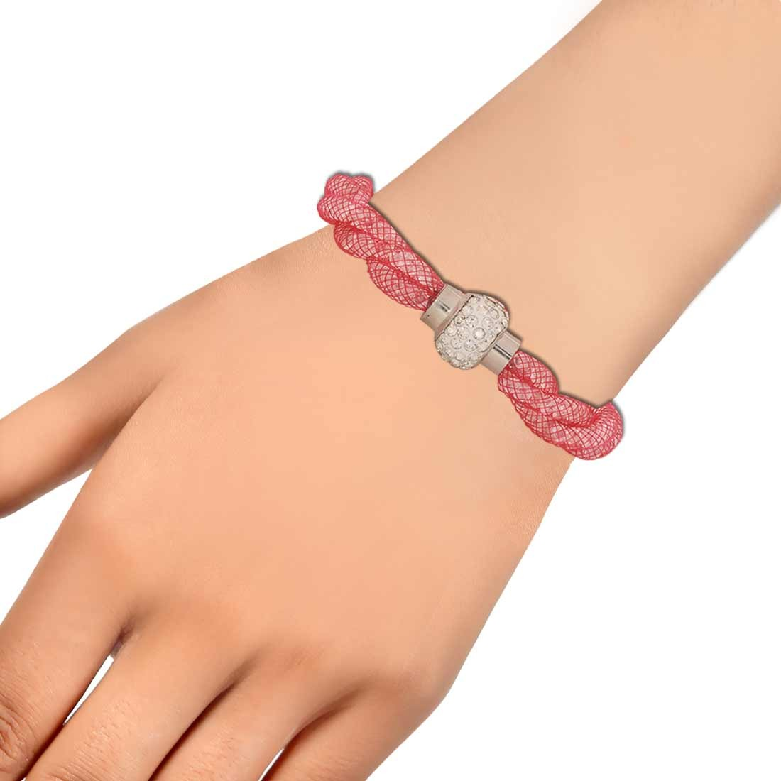 Plush Pink Silver Jaali Work Adjustable Cocktail Bracelet Alloy Maayra MY6803
