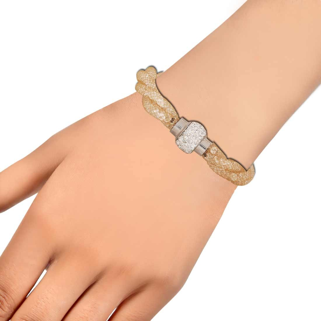 Modern Gold Silver Jaali Work Adjustable Get-together Bracelet Alloy Maayra MY6804