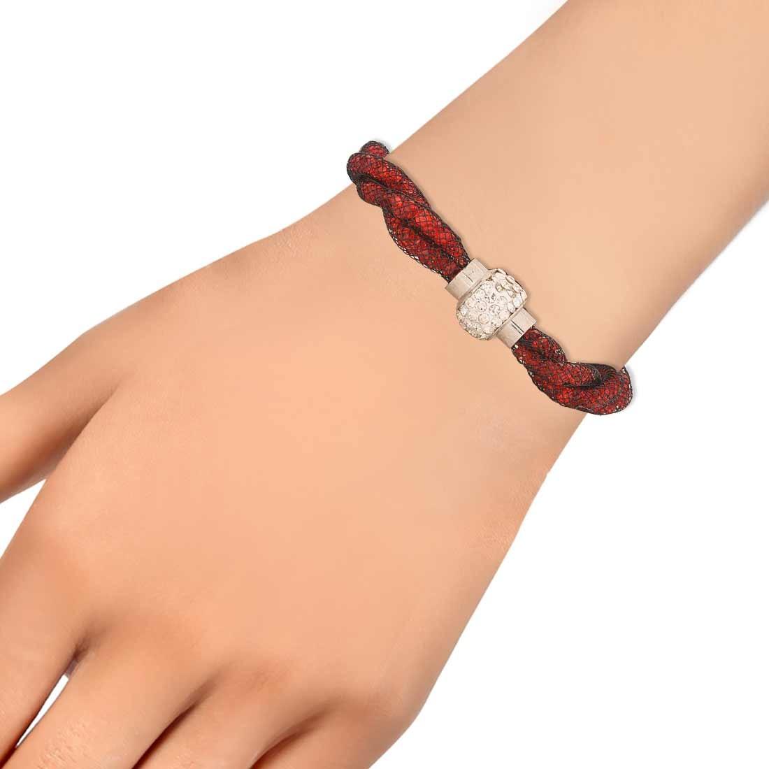 Amazing Red Jaali Work Adjustable Casualwear Size Bracelet Alloy Maayra MY6806
