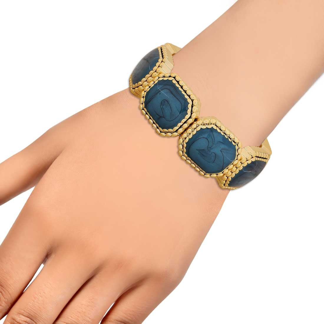 Adorable Blue Gold Latest Adjustable Reunion Size Bracelet Alloy Maayra MY6811