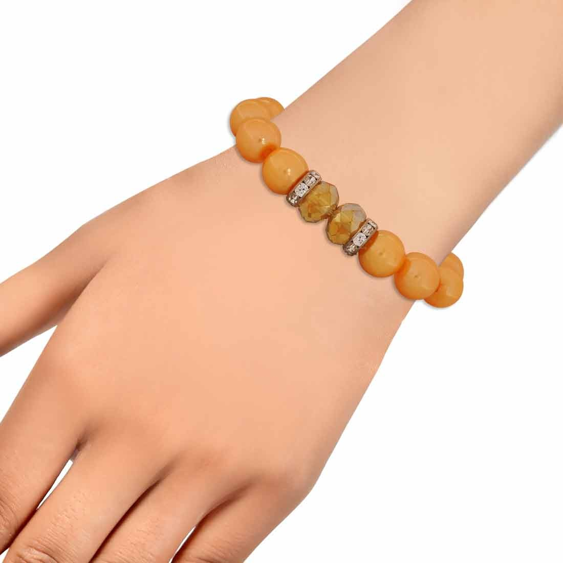 Classy Yellow Contemporary Adjustable Reunion Size Bracelet Alloy Maayra MY6817