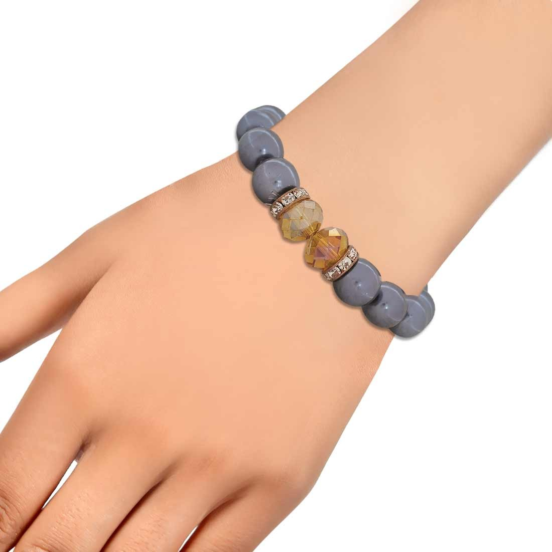 Sexy Grey Yellow Latest Adjustable Casualwear Size Bracelet Alloy Maayra MY6818