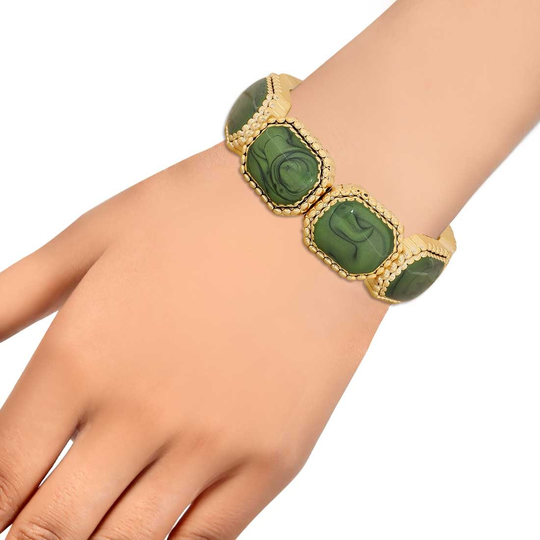 Terrific Green Gold Latest Adjustable Cocktail Bracelet Alloy Maayra MY6821