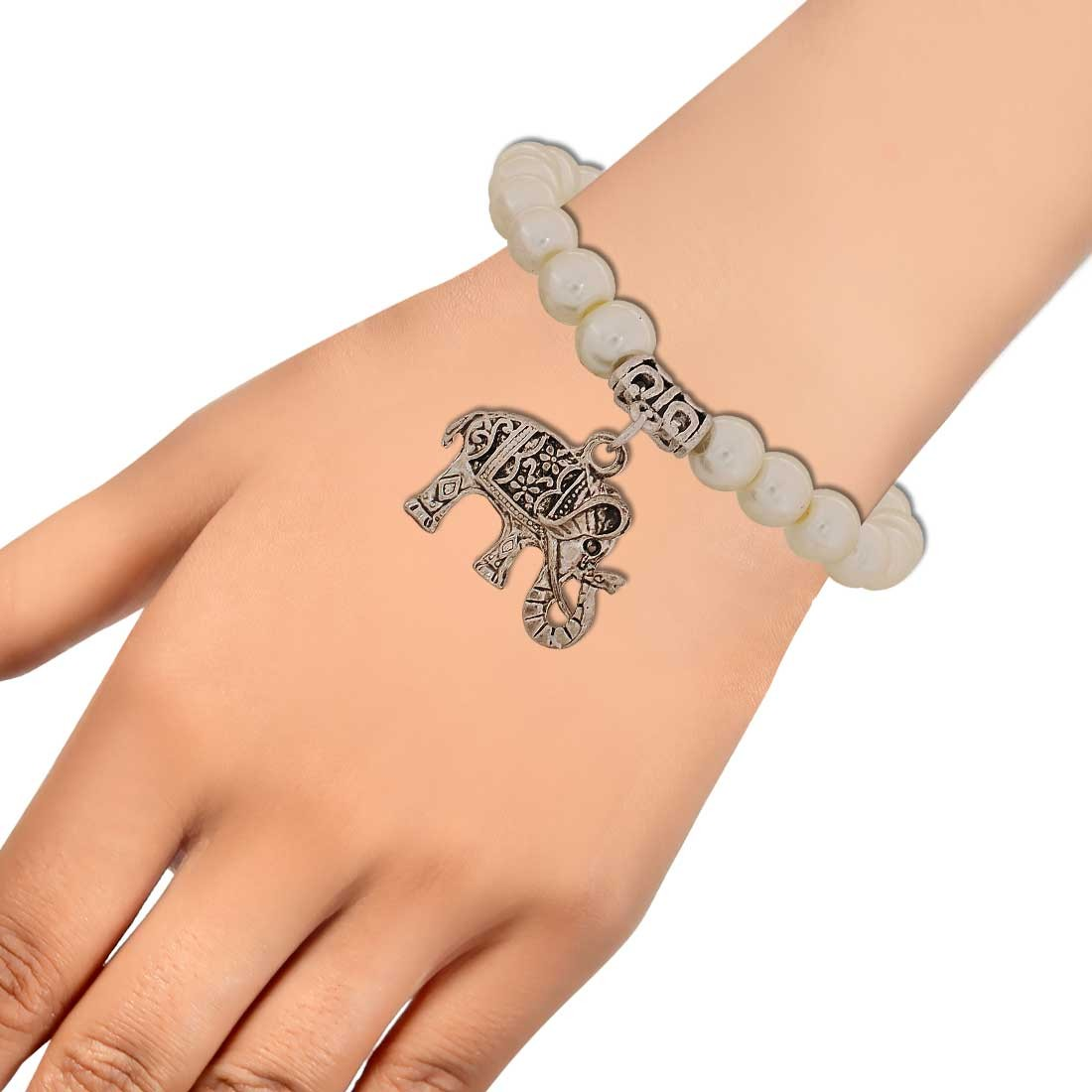 Shining White Silver Latest Adjustable Get-together Bracelet Alloy Maayra MY6828