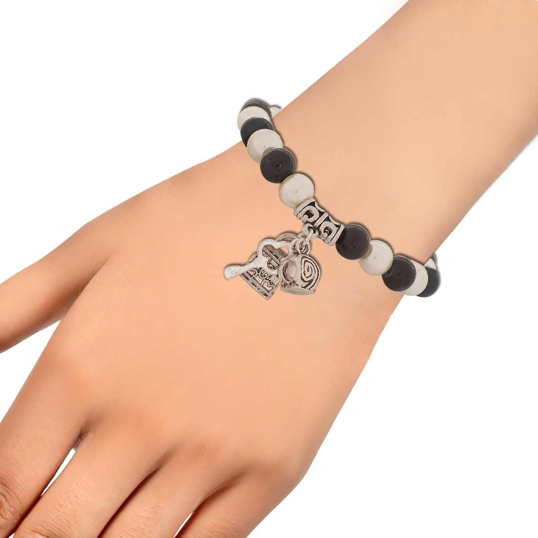 Smart Black White Latest Adjustable Casualwear Bracelet Alloy Maayra MY6830