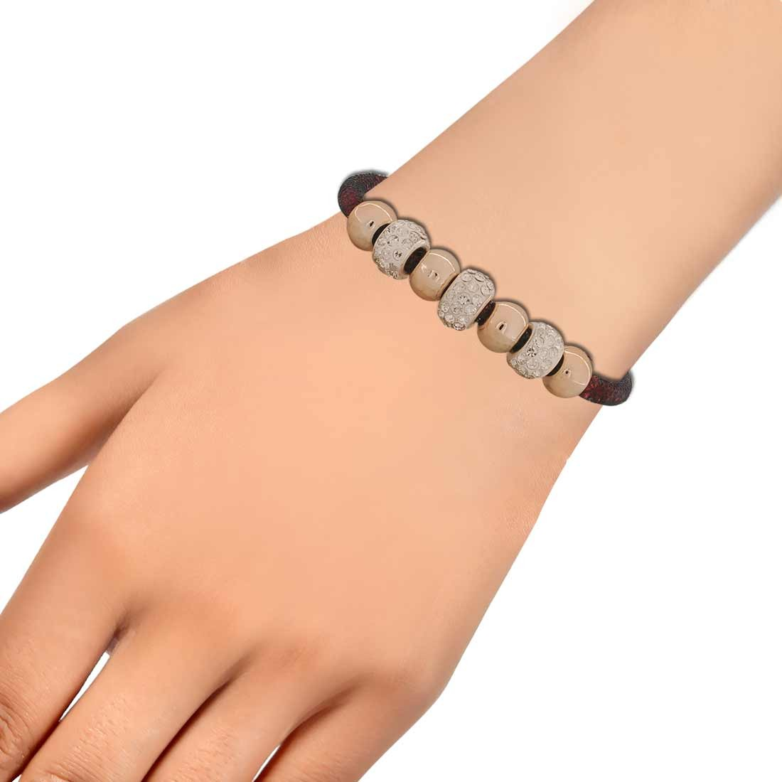 Classic Black Pink Latest Adjustable Party Size Bracelet Alloy Maayra MY6832