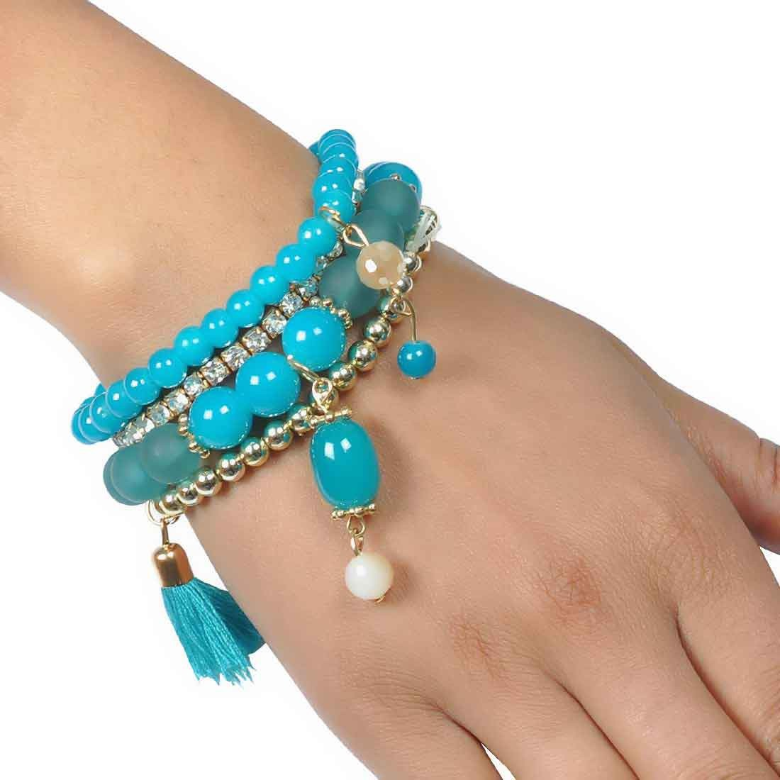 Grand Blue Gold Contemporary Adjustable Casualwear Bracelet Alloy Maayra MY6842