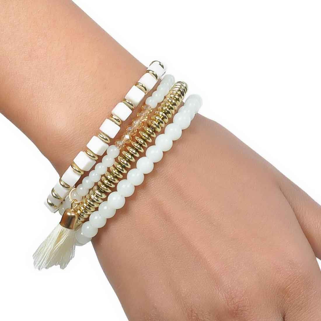 Cool Gold White Contemporary Adjustable Reunion Bracelet Alloy Maayra MY6847