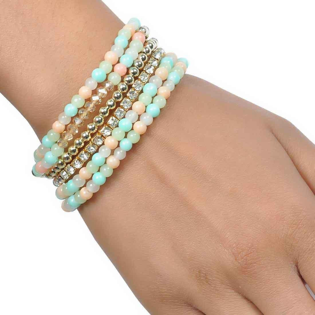 Suave Multicolor Contemporary Adjustable College Bracelet Alloy Maayra MY6849