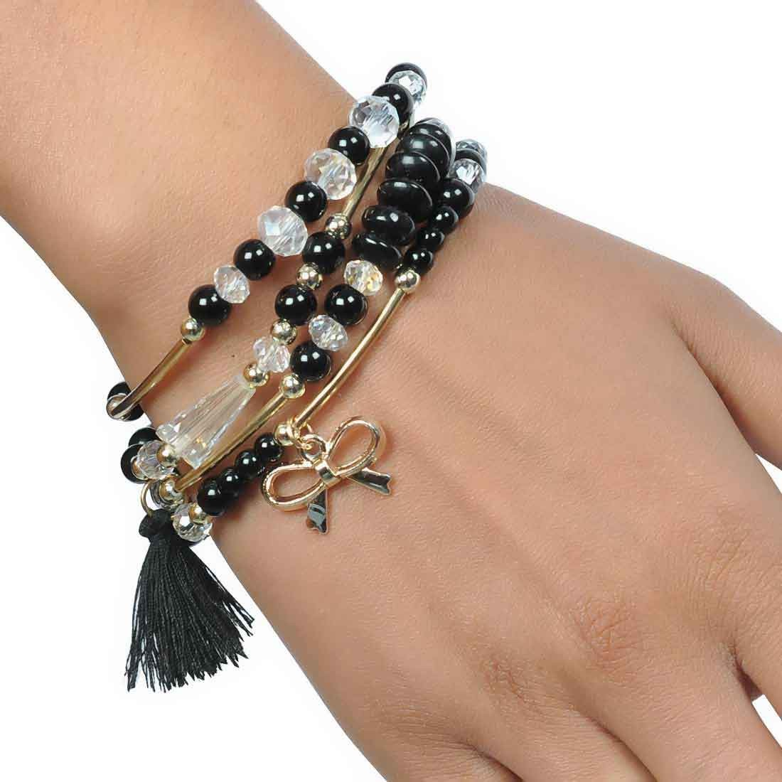 Dashing Black Gold Contemporary Adjustable Party Bracelet Alloy Maayra MY6850