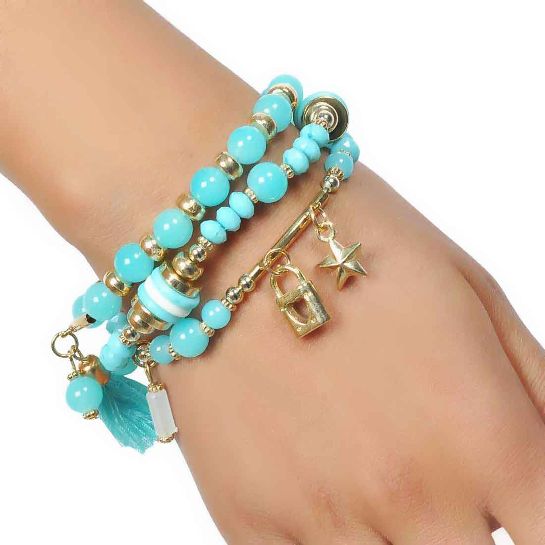 Superb Multicolor Contemporary Adjustable Reunion Bracelet Alloy Maayra MY6853