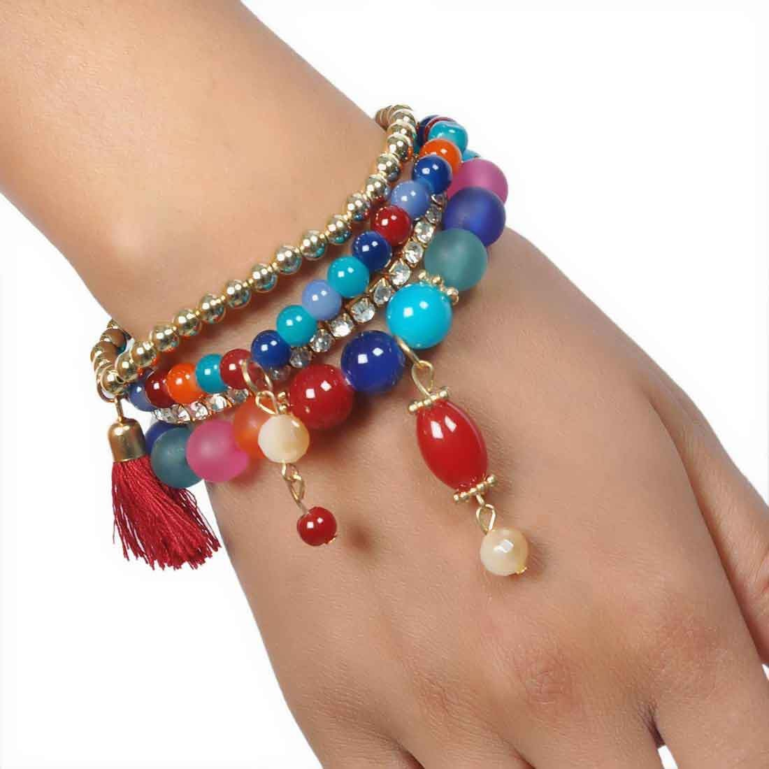 Chic Multicolor Contemporary Adjustable College Bracelet Alloy Maayra MY6855