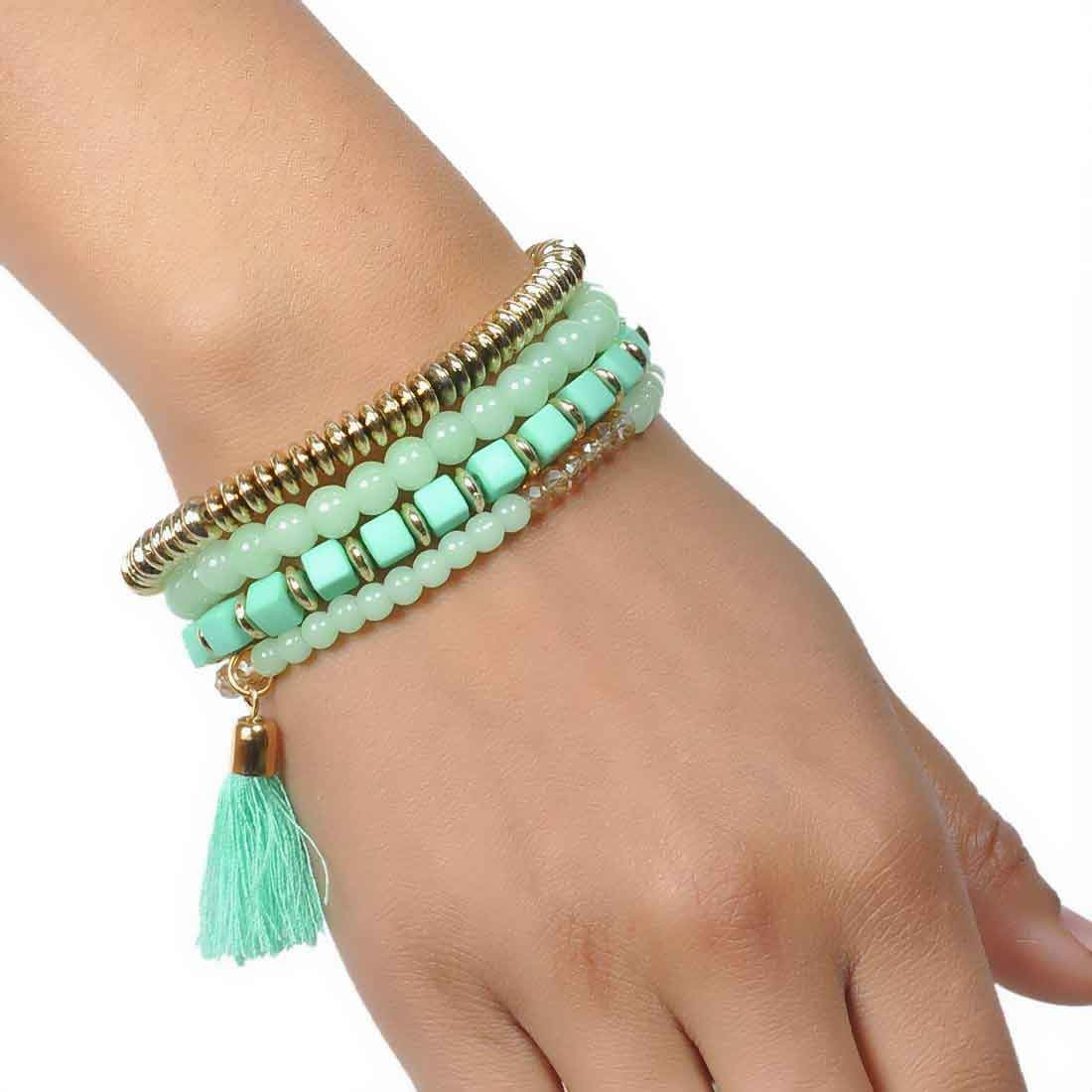Plush Gold Green Contemporary Adjustable Party Bracelet Alloy Maayra MY6856