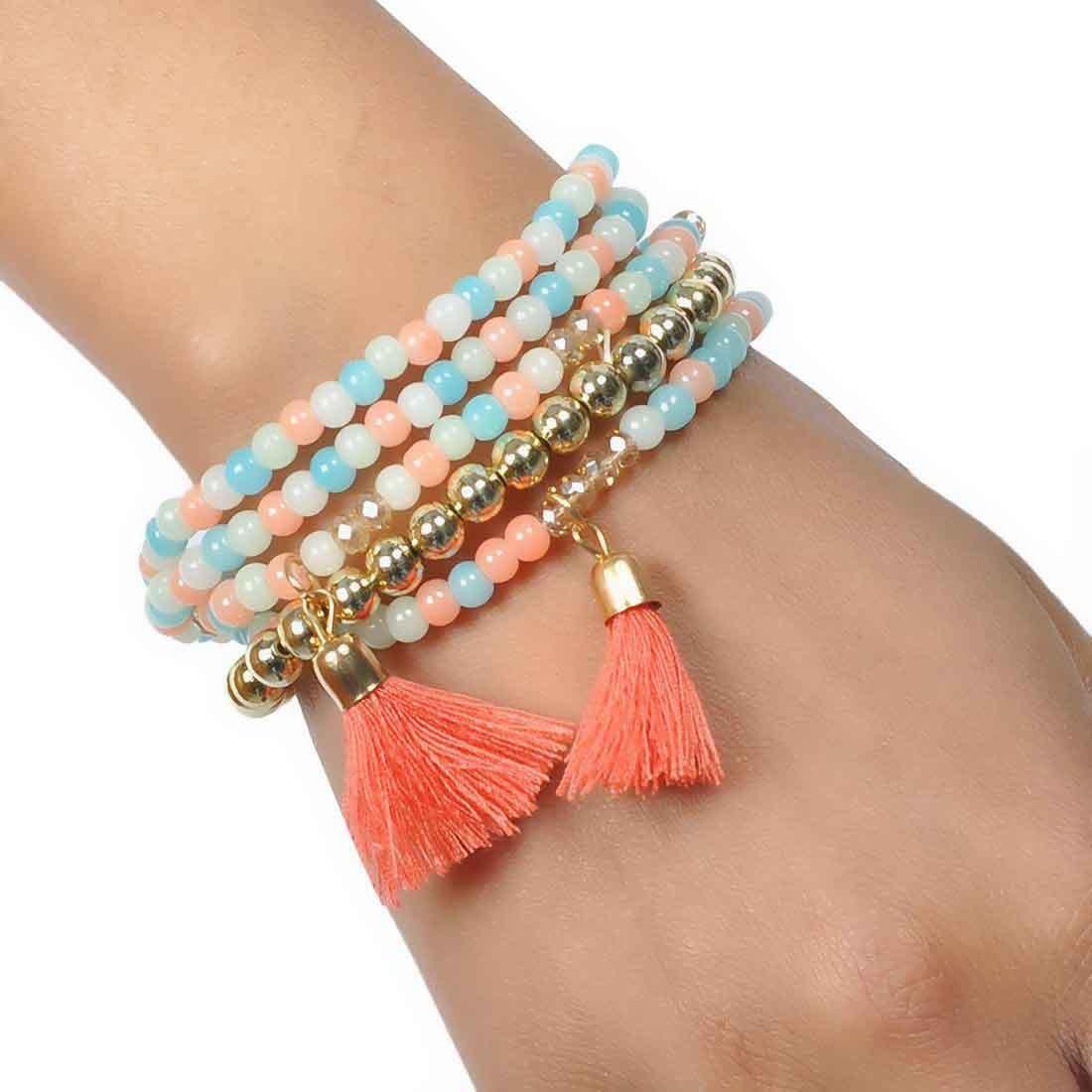 Amazing Multicolor Contemporary Adjustable Reunion Bracelet Alloy Maayra MY6859