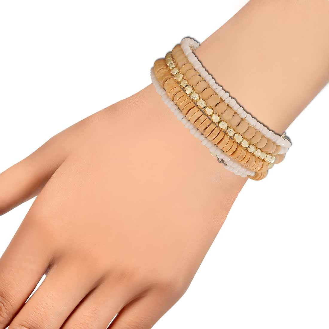 Simple Yellow White Contemporary Adjustable Party Bracelet Alloy Maayra MY6862