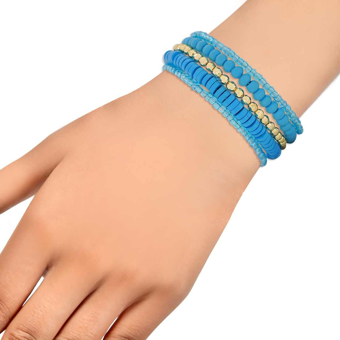 Sober Blue Gold Contemporary Adjustable Cocktail Bracelet Alloy Maayra MY6863
