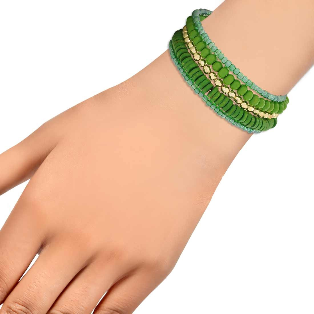 Special Green Gold Designer Adjustable Get-together Bracelet Alloy Maayra MY6864
