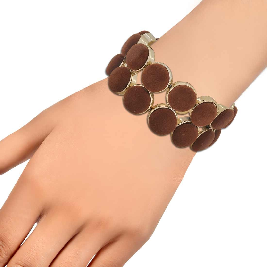 Terrific Brown Gold Contemporary Adjustable Party Bracelet Alloy Maayra MY6874