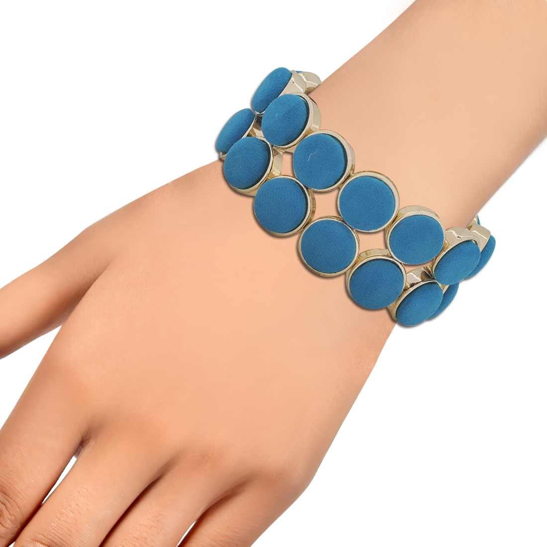 Fantastic Blue Gold Designer Adjustable Cocktail Bracelet Alloy Maayra MY6875