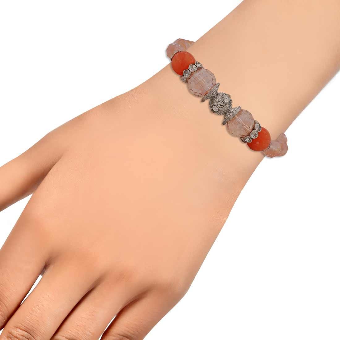 Sizzling Multicolor Designer Adjustable College Bracelet Alloy Maayra MY6879