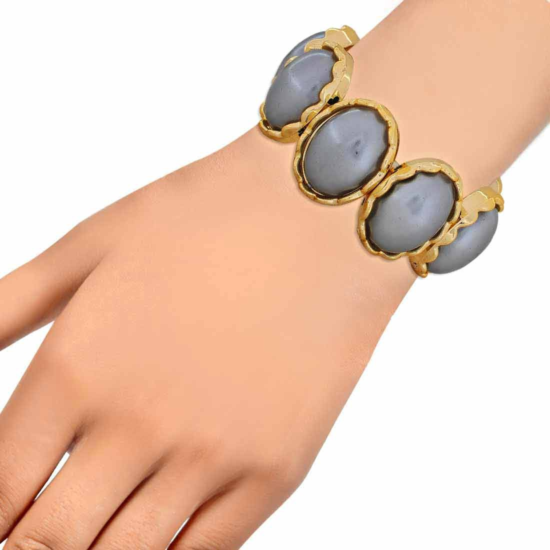 Pretty Grey Gold Designer Adjustable Get-together Bracelet Alloy Maayra MY6882