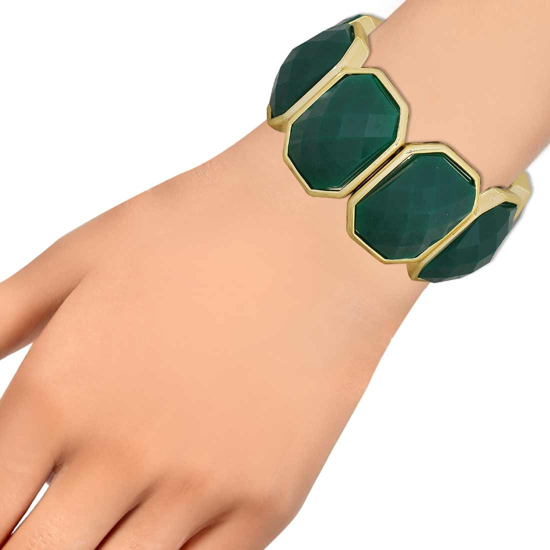 Lively Green Gold Contemporary Adjustable Reunion Bracelet Alloy Maayra MY6889