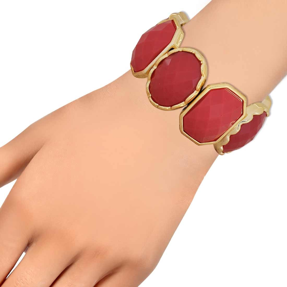 Artistic Maroon Gold Contemporary Adjustable Party Bracelet Alloy Maayra MY6892