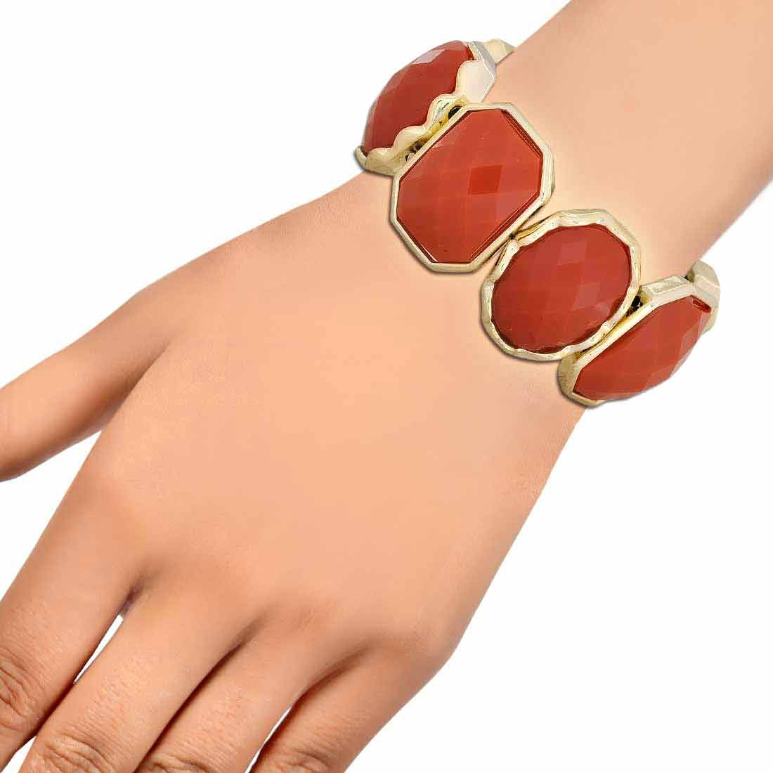 Lovely Orange Gold Designer Adjustable Cocktail Bracelet Alloy Maayra MY6893